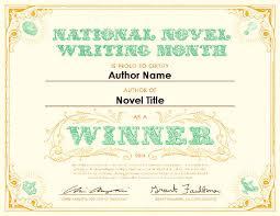 NaNoWriMo Certificate