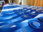 An endless sea of blue ribbons to hand out