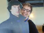 Sharon Anderson photo bombing Sherlock