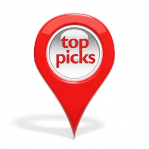 "Red round 3D pin with ""top picks"" isolated"
