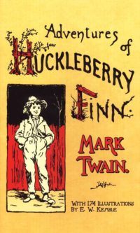 A yellow cover with red lettering of Mark Twain's Huckleberry Finn with a young boy on the cover.