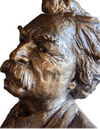 Bronze head of Mark Twain