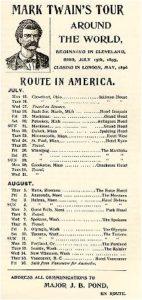 An old report listing some of Mark Twain's world tour locations